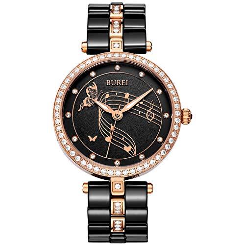 BUREI Damenuhren Elegante Quarz Armbanduhr Datumsanzeige Schwarz Keramik Armband Women Watches
