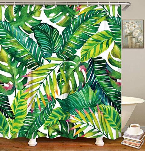 LIVILAN Tropical Shower Curtain, Green Banana Leaf Fabric Bathroom...