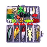 Sptlimes 77Pcs Fishing Lures Kit Set for Bass,Trout,Salmon,Including Spoon Lures,Soft Plastic Worms, CrankBait,Jigs,Topwater Lures (with Free Tackle Box)