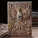 Capook A5 en relieve de cuero de la vendimia viaje Revistas Artesanía Criado Phoenix passée cuaderno del diario Bloc (Color : Color)