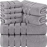 Utopia Towels - Lot de 8 Serviettes de Toilette Gris Froid - Serviettes à Rayures en...