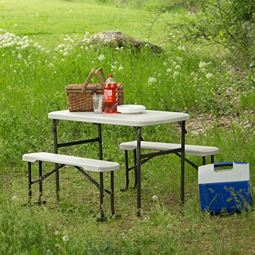 Lifetime 80373 Portable Folding Camping RV Picnic Table and Bench Set, Almond