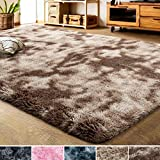 LOCHAS Luxury Velvet Shag Area Rug Modern Indoor Fluffy Rugs, Extra Comfy and Soft Carpet, Abstract Accent Rugs for Bedroom Living Room Dorm Home Girls Kids, 4x6 Feet Brown/Ivory