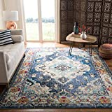 Safavieh Monaco Collection MNC243N Bohemian Chic Medallion Distressed Area Rug, 9' x 12', Navy/Light Blue