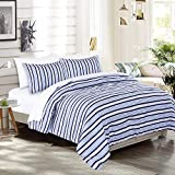 EMME 7-Piece Bed-in-A-Bag Bedding Comforter Set Luxurious Brushed Microfiber Goose Down Alternative Comforter Soft and Comfortable Machine Washable (Full/Queen, Blue Stripe)