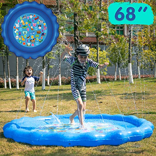 "JOYIN Sprinkler & Splash Play Mat for Learning, 68"" Outdoor Water Sprinkler Toys – ""from A to Z"" Alphabet Animals Outdoor Swimming Pool for Babies Kids and Toddlers Splash Pad"