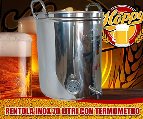 Hoppy Pentola 70 Litri Inox Rubinetto E Termometro Altissima Precisione Birra O Altro