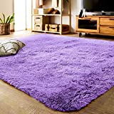 LOCHAS Ultra Soft Indoor Modern Area Rugs Fluffy Living Room Carpets for Children Bedroom Home Decor Nursery Rug 4x5.3 Feet, Purple