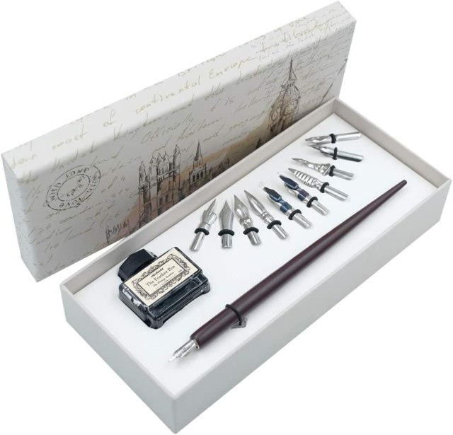 Wooden Dip Pen Gift Writing quill Handcrafted Calligraphy Set with Black  Ink 23 nibs HO-Q-23