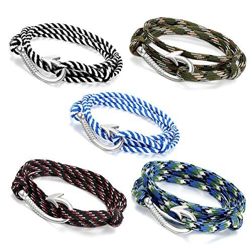 Oidea - 5 bracciali multifilo regolabili con ciondolo a forma di amo da pesca, in corda, colore mimetico militare, unisex, 78,74 cm, ideale anche come cavigliera o collana