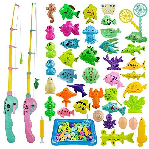 ZWOOS Gioco della Pesca, 44 Pezzi Fishing Game Magnetico Giocattolo da Bagno Canne da Pesca Giocattolo, Grande Regalo per Bambini Piccoli (A)