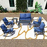 PatioFestival Cushioned Metal Outdoor Conversation Sets,8 PCs All Weather Padded Furniture Sectional Sofa Sets w/Loveseat,Rocking Chairs,Coffee Table for Yards,Gardens,Porches (8 PCS-1, Blue)