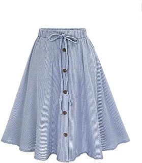 Falda Larga de Azul Rayas con Botones