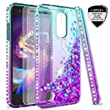 LG Tribute Empire Case,LG Aristo 3/Aristo 2/Aristo 2 Plus/Tribute Dynasty/Fortune 2/Risio 3/Zone 4 Case w/Tempered Glass Screen Protector for Girls,LeYi Glitter Phone Case for LG K8 2018 Teal/Purple