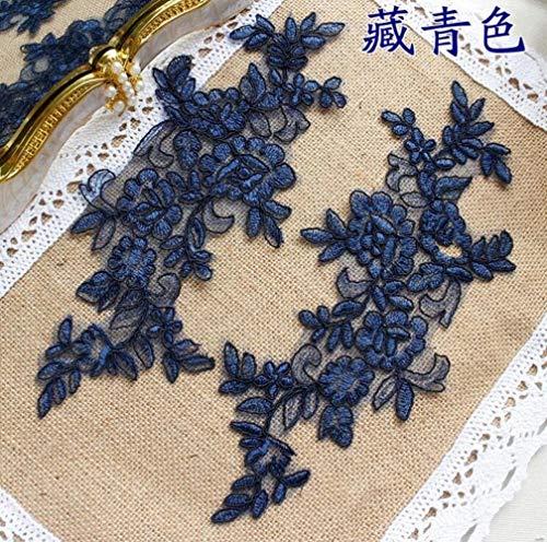 6 piezas / 3 pares 27 * 11cm Vestido de novia bordado con lentejuelas Bling Boda Decorativa Costura Apliques de encaje Trim Craft, azul marino