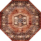 Unique Loom Utopia Collection Traditional Geometric Tribal Warm Tones Terracotta Octagon Rug (7' 0 x 7' 0)
