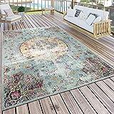 Paco Home In- & Outdoor Teppich Modern Orient Print Terrassen Teppich Wetterfest Türkis, Grösse:120x170 cm
