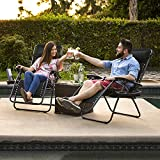 2 x Liegestuhl | Verstellbar Kopfpolster Schwerelosigkeit Oxford Stahl Fußschoner - 6