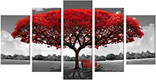 Canvas Wall Art Red Tree Picture Prints on Canvas Landscape Painting Modern Giclee..