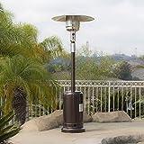 BELLEZE 014-HG-PH00-BRO 48,000BTU Premium Outdoor Patio Heater with Wheel LP Propane H, Hammered Bronze