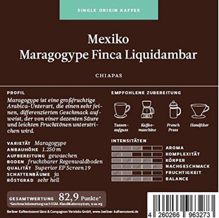 Berliner Kaffeerösterei Mexiko Maragogype Finca Liquidambar