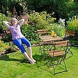 Relaxdays Gartenstuhl 4er Set, klappbar, Metall, Naturholz, ohne Armlehnen, H x B x T: 84 x 42 x 44 cm, naturfarben - 4