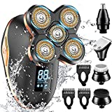 GOOLEEN Electric Shaver for Men & Grooming Kit,5 in 1 Head Shavers for Bald Men IPX7 Waterproof, Wet&Dry Bald Head Shaver Electric Razor for Men Hair Clippers Nose Beard Trimmer Cordless Rechargeable
