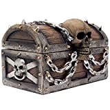 Evil Skull on Treasure Chest Trinket Box Statue with Hidden Storage Compartment for Decorative Gothic Dcor or Spooky Halloween Decorations As Jewelry Boxes or Fantasy Office Gifts