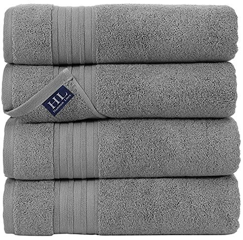 Hammam Linen Cool Grey Bath Towels 4-Pack - 27x54...