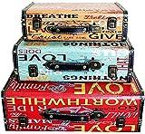 LHSUNTA Cajas de Almacenamiento de Madera Maleta Juego de 3 Cajas Antiguas Accesorios de Tiro en casa para Almacenamiento y decoración Organizador de Joyas Caja de Madera Decorativa (Color