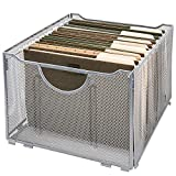 MyGift Sleek Silver Metal Mesh Hanging File Folder Storage Crate
