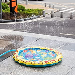 "Sprinkle & Splash Play Mat, 39"" Sprinkler for Kids Outdoor Water Toys Fun for Boys Girls Children Outdoor Party Sprinkler Toy Splash Pad"