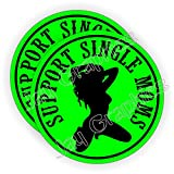 {Pair} SUPPORT SINGLE MOMS Hard Hat Stickers ~ Motorcycle Welding Helmet Decals ~ Funny Labels Badges ~ Mechanic Toolbox Laborer Construction Trucker Foreman Scaffold Stripper Dancer Sexy Babe Girl