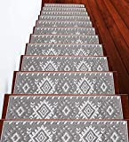 Stair Treads Traditional Collection Contemporary, Cozy, Vibrant and Soft Stair Treads | Gray & White, 9' x 28' | Pack of 13 [100% Polypropylene] | Tape Included