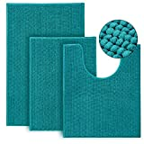 Urvoix Bathroom Rugs and Mats Sets- 3 Pieces Ultra Soft Non-Slip Chenille Bath Rugs Absorbent Bath Mat for Bathroom, Shower and Tub (Teal)