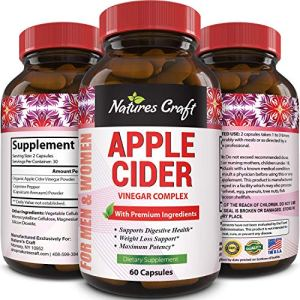 Natures Craft Apple Cider Vinegar Pills – For Weight Loss ACV Capsules Extra Strength Fat Burner Natural Supplement Pure Detox Cleanse Appetite Suppressant Immune Booster – for Women and Men 60 caps 5 - My Weight Loss Today