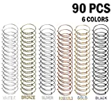 Tamicy 90 Pcs (6 Colors) Expandable Bangle Charms Bracelets - Adjustable Wire Bracelets, Stainless Steel Blank Bangles for DIY Jewelry Making (Silver, Gold, Rose Gold, White K Black Antique Bronze)