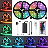 AMBOTHER LED Strips Lights, 10m Waterproof RGB Light Strip Kit with 44-Keys IR Remote Control, SMD 5050 Colour Changing Rope Lights for Kitchen Garden Home Party Decoration, 2pcs x 5m