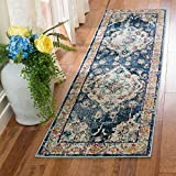 Safavieh Monaco Collection MNC243N Bohemian Chic Medallion Distressed Runner, 2' 2' x 6', Navy/Light Blue