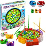WISHKY Fishing Game Toy Set with Rotating Board| Fishing Toy Includes 24 Fish and 5 Fishing Poles | Safe and Durable Gift for Toddlers and Kids Ages 4 and Up