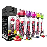 sharpro 32 oz. Infuser Water Bottles - Featuring a Full Length Infusion Rod, Flip Top Lid, Dual Hand Grips (Deep Red)