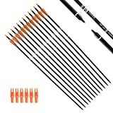 Tiger Archery 30Inch Carbon Arrow Practice Hunting Arrows with Removable Tips for Compound & Recurve Bow(Pack of 12) (Orange White)