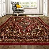 Ottomanson Ottohome Persian Heriz Oriental Design with Non-Skid Rubber Backing, 60' L x 78' W, Red