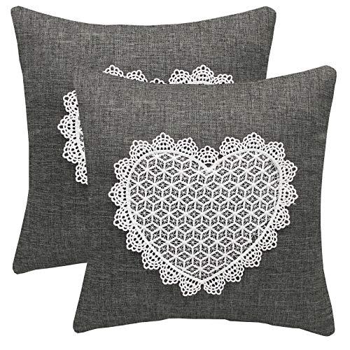 FYJS Confezione da 2 federe in lino artificiale con fiore in pizzo Decorazioni per la casa Fodera per cuscino quadrato per divano camera da letto 45x45cm,Grigio scuro