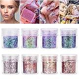 Purpurinas Polvo 8 colores Chunky Glitter con brillo cosmético Fiestas y festivales brillantes...