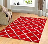 Contemporary Trellis Modern Geometric Area Rug RED 635 furnishmyplace- 4x6