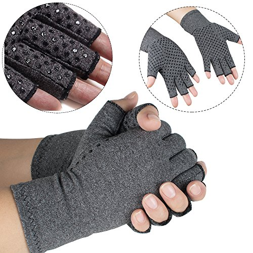 vinmax Arthritis Gloves, Cotton & Spandex Arthritis Rehabilitation Bumps Training Nursing Grip Gloves Open Finger Keep Hands Warm & Relieves Pain for Men & Women (Medium)