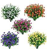 Amajoy 15 Bundles Extérieur Fleurs Artificielles Faux Plastique Verdure...
