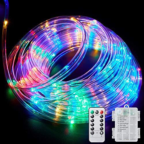 BLATOMY Tubo luminoso led esterno, 10m 100 LED Luci da fata colorate, Luci Stringa decorativo Impermeabile con Telecomando per feste, patio, giardino, cancello, cortile, matrimonio, Natale