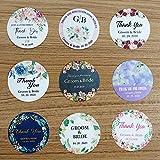 BLOUR 96 Piezas 3 cm / 1,2 Pulgadas Pegatina Redonda de Boda con Nombre Personalizado Logotipo Impermeable Etiqueta Personalizada para favores de Fiesta Cajas de Regalo de Caramelo Embalaje